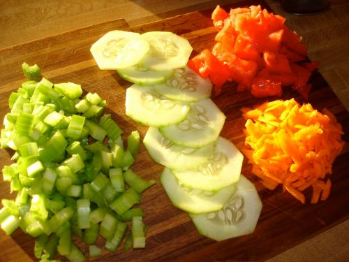 Salad mise en place